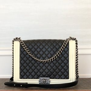 Chanel Two Tone Bicolor Black White Large Boy Bag